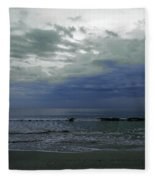 Storm At The Beach Fleece Blanket