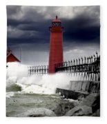 Storm At The Grand Haven Lighthouse Fleece Blanket