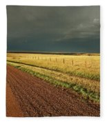 Storm Clouds Along A Saskatchewan Country Road Fleece Blanket