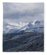 Storm Clouds Receding And Fresh Snow On Pikes Peak Fleece Blanket