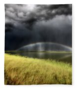 Storm Clouds And Rainbow Over Chaplin Lake Marshes Fleece Blanket