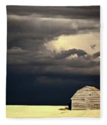 Storm Clouds Behind Abandoned Saskatchewan Barn Fleece Blanket