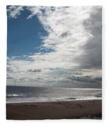 Storm Clouds Clearing The Beach With Wind Farm In The Background Skegness Lincolnshire England Fleece Blanket