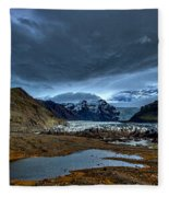 Storm Clouds Over A Glacier - Iceland Fleece Blanket