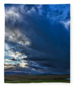 Storm Clouds Over Farmland #2 - Iceland Fleece Blanket