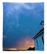 Storm Clouds Over Saskatchewan Country Church Fleece Blanket