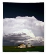 Storm Clouds Over Saskatchewan Granaries Fleece Blanket