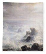 Storm Off The Coast Of Belle Ile Fleece Blanket