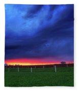 Storm Over Farm Country Fleece Blanket