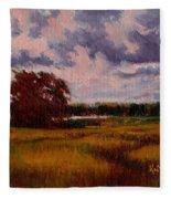 Storm Over Marshes Fleece Blanket