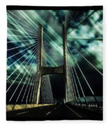 Storm Over The Bridge  Fleece Blanket