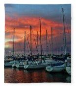 Storm Over The Newport Harbor Fleece Blanket