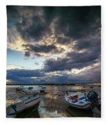 Storms At Dusk In La Caleta Cadiz Spain Fleece Blanket