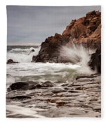 Stormy Beach Waves Fleece Blanket