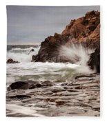 Stormy Beach Waves Fleece Blanket
