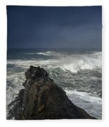 Stormy Day At Sunset Bay Fleece Blanket