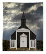 Stormy Day At The Black Church Fleece Blanket