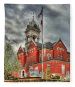 Stormy Day Jones County Georgia Court House Art Fleece Blanket