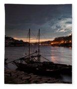 Stormy Evening Sky Above Porto And Gaia Fleece Blanket