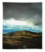 Stormy Mountains In Sunlight Fleece Blanket