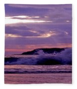 Stormy Ocean Panoramic  Fleece Blanket