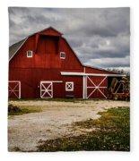 Stormy Red Barn Fleece Blanket