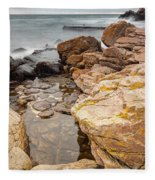 Stormy Rock Beach Fleece Blanket