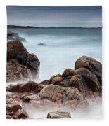 Stormy Sunset Beach Fleece Blanket