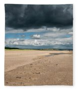 Stormy Weather Over The Beach In Scotland Fleece Blanket