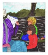 Story-time On Grand Mom's Porch Fleece Blanket