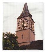 St.peter Church Clock In Zurich Switzerland Fleece Blanket