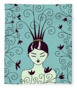 Strange Hairstyle And Flowery Swirls Fleece Blanket