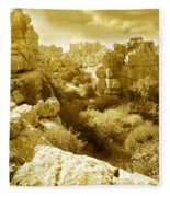 Strange Rock Formations At El Torcal Near Antequera Spain Fleece Blanket