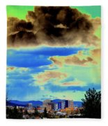 Strange Spokane Storm Fleece Blanket