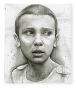 Stranger Things Eleven Upside Down Art Portrait Fleece Blanket