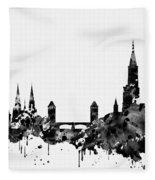 Strasbourg Skyline-black Fleece Blanket