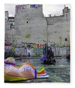 Stravinsky Fountain Near Centre Pompidou In Paris, France Fleece Blanket