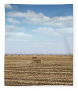 Straw Bale And Center Pivot Sprinkler System On Field Fleece Blanket