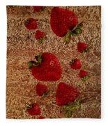 Strawberries And Stone Slab  Fleece Blanket