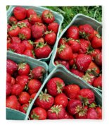 Strawberries In A Box On The Green Grass Fleece Blanket