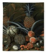 Strawberries In A Porcelain Bowl With Pineapples Melons Peaches And Figs Before A Tropical Landscape Fleece Blanket