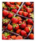Strawberries With Green Weed In Plastic Containers  Fleece Blanket