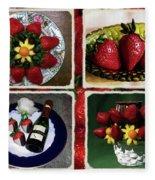 Strawberry Collage Fleece Blanket