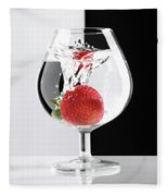 Strawberry In A Glass Fleece Blanket by Maxim Images Prints