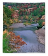 Stream And Fall Color In Central California Fleece Blanket