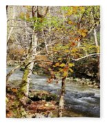Stream In An Autumn Woods Fleece Blanket