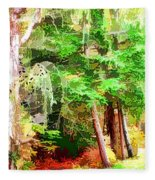 Streams In A Wood Covered With Leaves Fleece Blanket