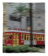 Street Car Flying Down Canal Fleece Blanket