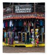 Street Commerce At Ataco Fleece Blanket