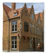 Street Corner In Bruges Belgium Fleece Blanket